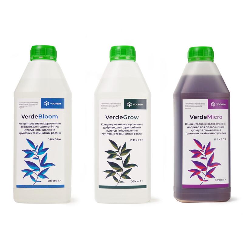 набір концентрованих водорозчинних добрив для гідропонічних культур і підживлення ґрунтових та кімнатних рослин verde